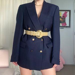 Vintage Navy Blue Oversized Blazer